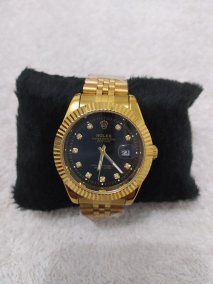 Relógio Masculino Rolex Dourado / Preto A Prova D