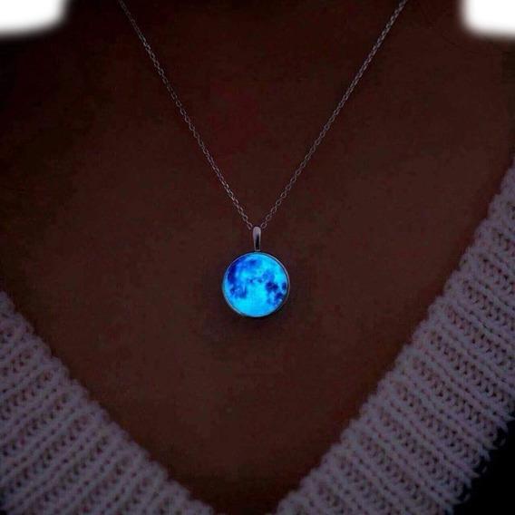 Set Collar Y Pulsera Luna Llena Brilla Oscuridad Luminoso
