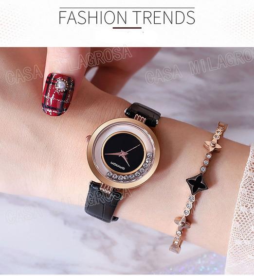 Relógio Feminino Casual Luxo Importado Couro Preto