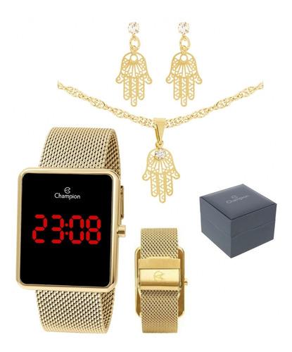 Relógio Digital Dourado Ch40080 + Semijoia Champion Original