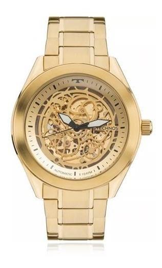 Relógio Masculino Technos Esqueleto Automático Dourado