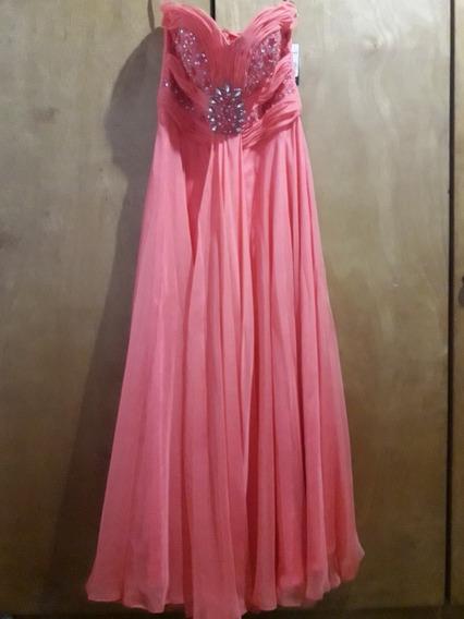 Vestido Largo Color Salmón. Vestido De Fiesta, Promo, Quince
