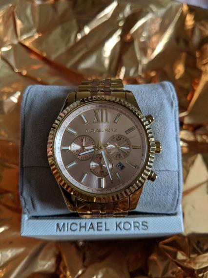 Relógio Grande E Dourado Michael Kors