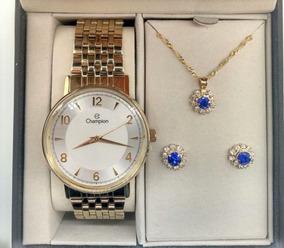 Relógio Champion Feminino Cn29481dflor + Brinde