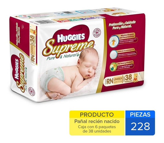 Caja Huggies Supreme Recien Nacido 228 Uni.
