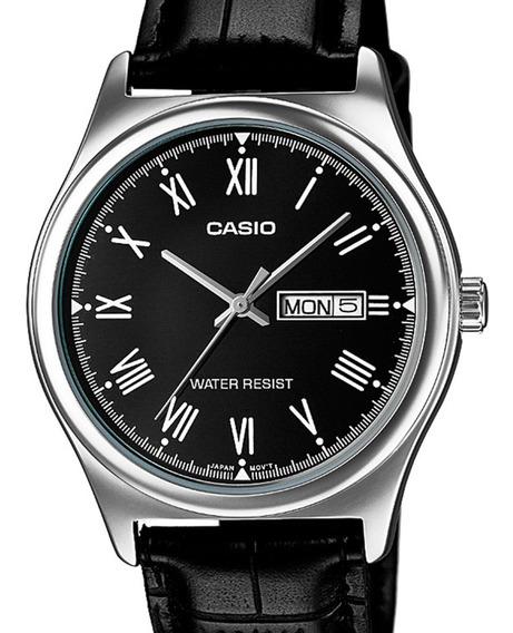 Relógio Casio Masculino Classico Couro Preto Numeros Romanos