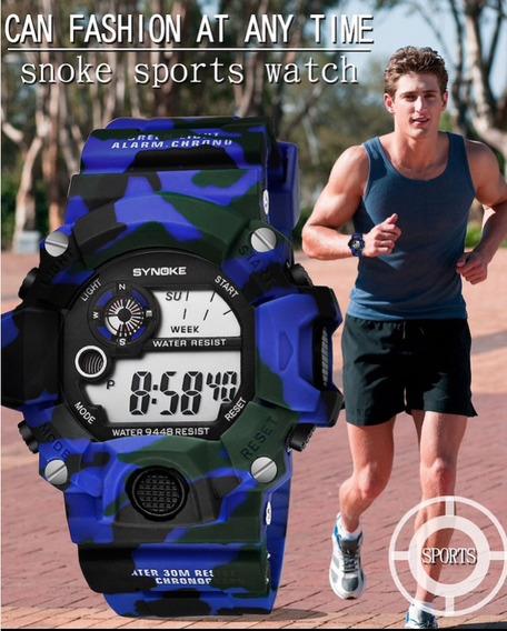 Relógio Masculino Militar Anti Shock Camuflado Synoke 9448