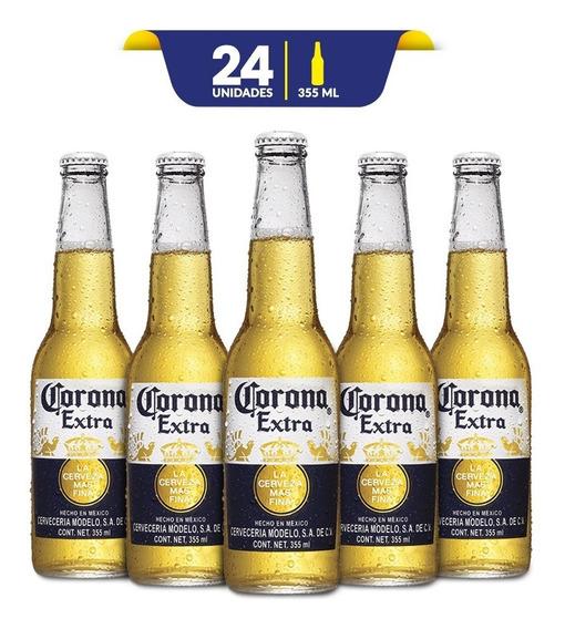 Cerveza Clara Corona Extra De 24 Botellas De 355ml C/u