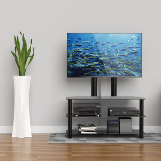 Mesa Rack Tv Led, 3 Estantes, Vidrio Templado 10mm Negro