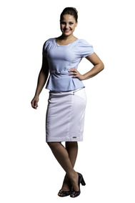 Saia Feminina Branca Em Satim Ziper Moda Barata Evangélica