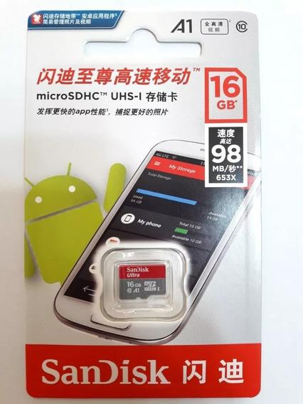 Cartão Memória Sandisk 16gb Micro Sdhc Classe 10 Ultra 98mbs