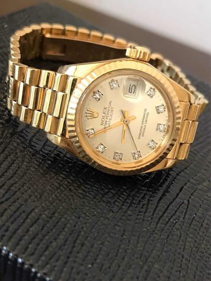 Relógio Rolex Date Just Ouro 18k E Diamantes 100% Original