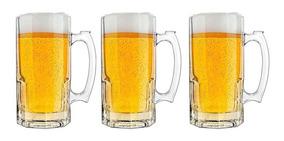 3 Canecas De Chopp Vidro 1 Litro Oktoberfest Cerveja Libbey