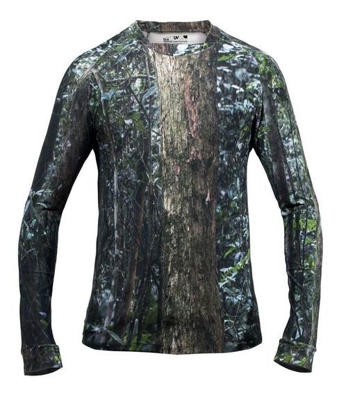 Camiseta De Pesca Masculina Camuflada Mata Brasileira Ice