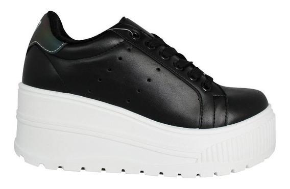 Zapatillas Mujer 47 Street Pop Blancas Negras Cordones