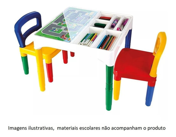 Promoção! Mesa Didática Mesinha Infantil Poliplac 2 Cadeiras