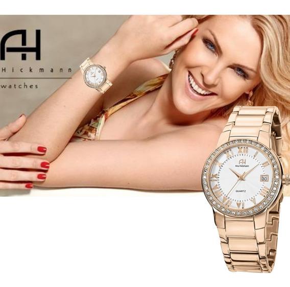 Relógio Ana Hickman Feminino Com Strass Rosê Ah28562z