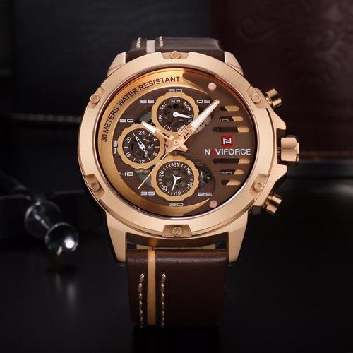 Relógio Masculino Original Naviforce 9110 Pulseira De Couro