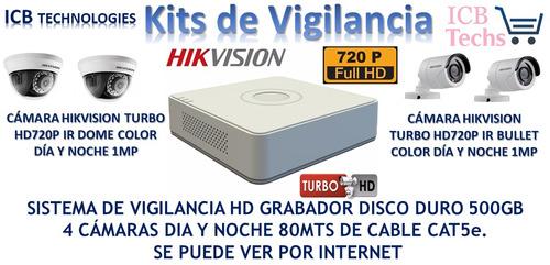 Imagen 1 de 4 de Sistema De Seguridad Hikvision 4 Cámaras Hd 720p 500gb 80mts