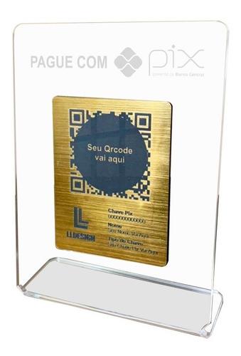 Imagem 1 de 3 de Placa Pix Para Pagamento Qrcode Em Acrílico Face Dourada