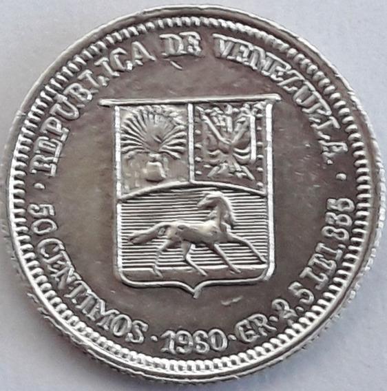 Venezuela Moneda De Plata De 1960 De 50 Centimos