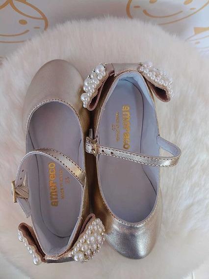 Sapato Infantil Feminino Amoreco Dourado Festa Perolas 82083