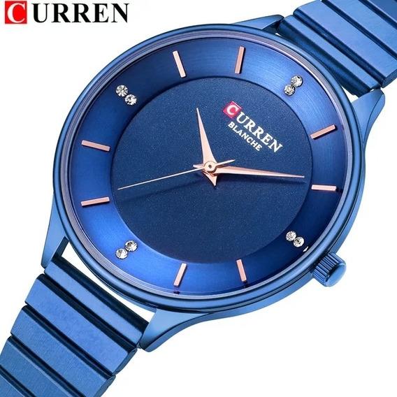 Relógio Feminino Curren Original Analógico Importado Fashion Azul Super Elegante A Prova D