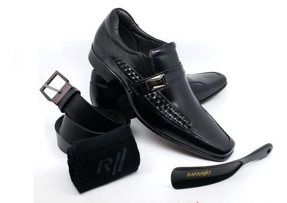 Sapato Social Rafarillo Couro Conforto Kit 4 Em 1 Ref 79327