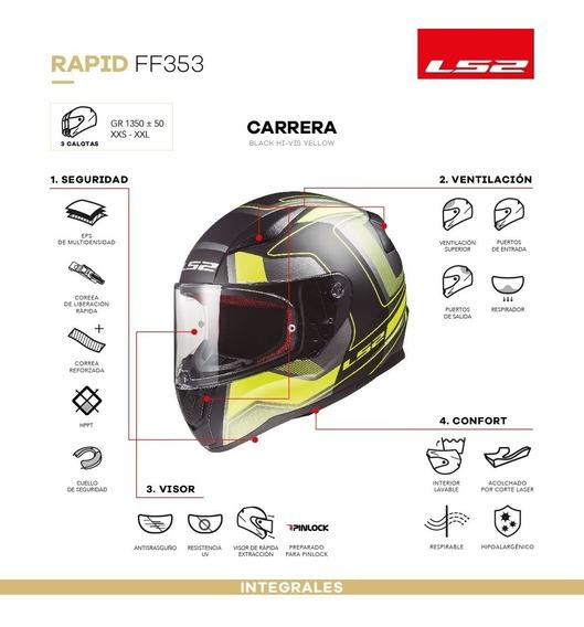 Casco Integral Ls2 353 Rapid Carrera Black Yellow Yuhmak