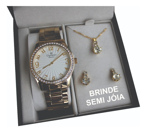 Relógio Champion Feminino Dourado + Kit Colar E Brinco Kit13