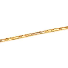 Pulseira De Ouro 18k Trabalhada Em 3 Cores 19cm