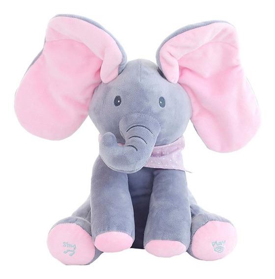 Peek A Boo Pelúcia Elefante Musical Canta Mexe Orelhas Rosa