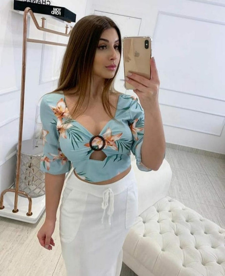 Cropped Feminino Cropped Floral