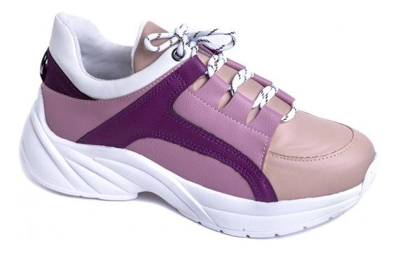 Tênis Chunky Sneaker Em Napa Bege, Rosa E Roxo