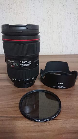 Lente Canon Ef 24-105mm F4l Ls Li Usm + Filtro Pol Hoya 77mm