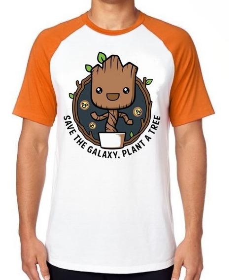 Camiseta Luxo Salve Guardioes Galáxia Plante Um Groot Árvore