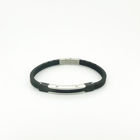 Bracelete Rosso Silicone 21cm Placa Black Com Detalhe Prata.