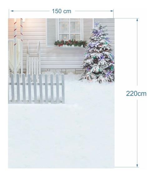Fundo Natal Fotográfico Cerca Branca E Árvore De Natal