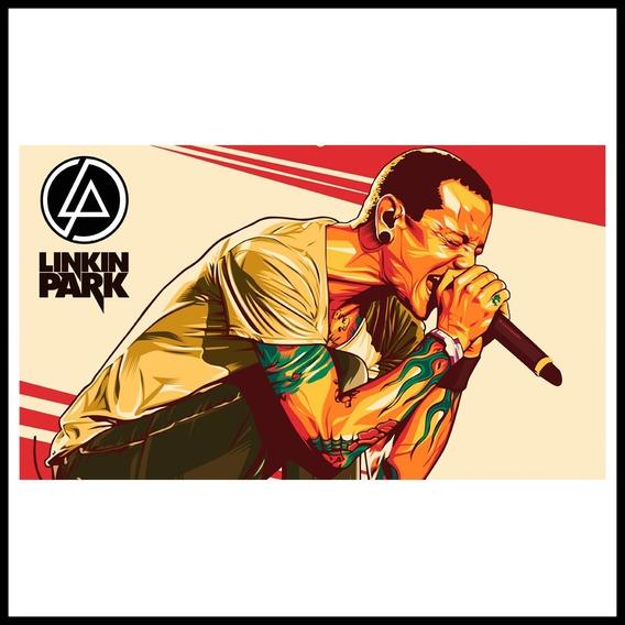 Poster Adherible Diseño Linkin Park Chester 70x40cm