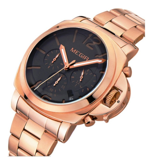 Relógio Megir Ouro Quartz Militar Cronometro Mega Oferta