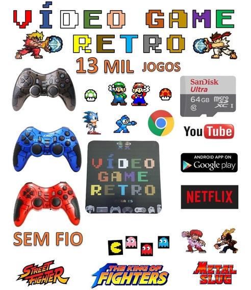Video Game Retro Smart 64gb Com 2 Controles Sem Fio Jogos