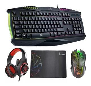 Kit Gamer Retroiluminado Teclado + Mouse + Pad + Auriculares