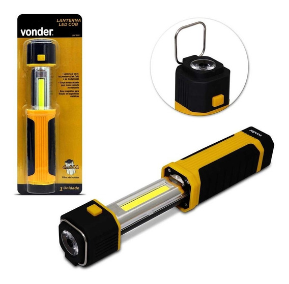 Lanterna Led Vonder Llv201 Cob 2 Em 1 Retrátil Preto Amarelo