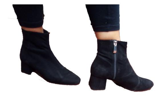 Botitas Negras Zara Gamuzadas Talle 38