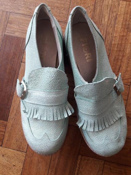 Zapatos Verdes Fiori Cuero Verde Plataforma Redondo Talle 40