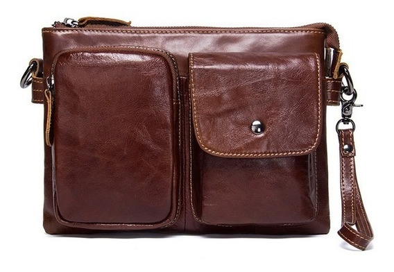 Bolsa Mochila Hombro Pecho Premium Piel Legitima 18 X 26cm