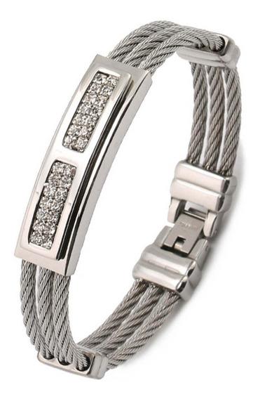 Bracelete Pulseira Masculina Aço Inoxidável 316l Prateada