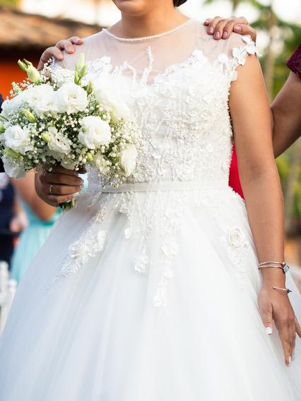 Vestido De Noiva Bordado Com Pérolas 40/42