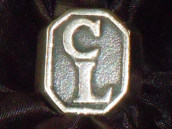Lindo,elegante Anel Em Prata 925 Iniciais Cl ,itália,déc.80
