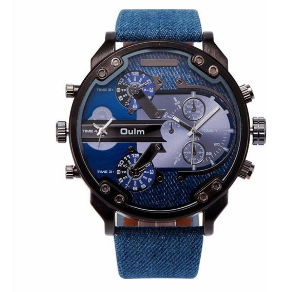 Relógio Militar Masculino Jeans Cor Azul Marca Oulm 3548